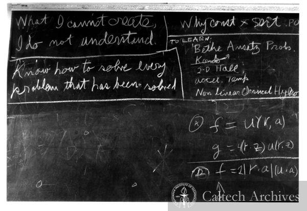 Richard Feynman's blackboard at time of his death ...