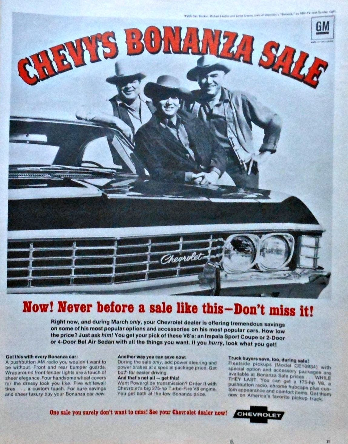 The Men Of The Ponderosa Drive Chevrolet With Dan Blocker