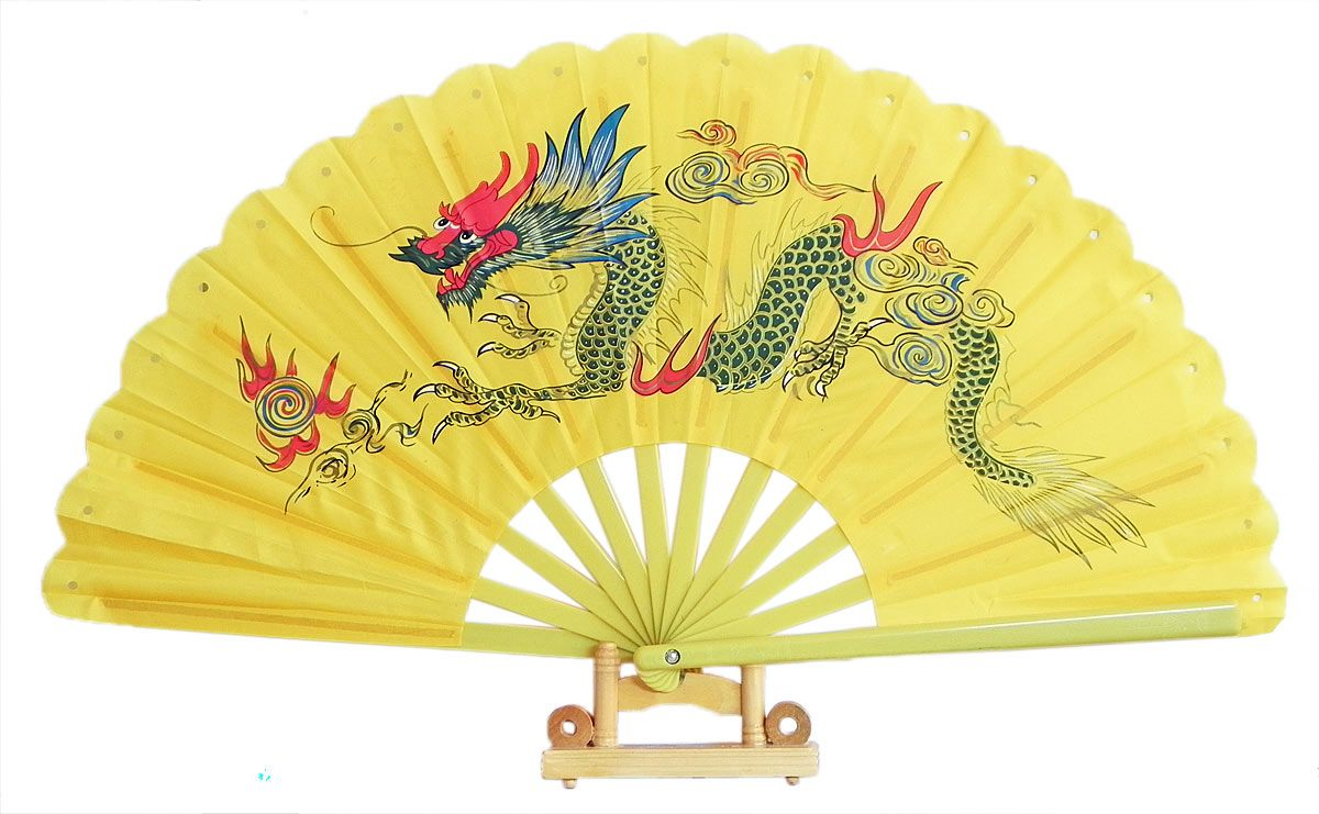 Hand Painted Dragon on Yellow Silk Folding Fan with Stand (Cloth ...