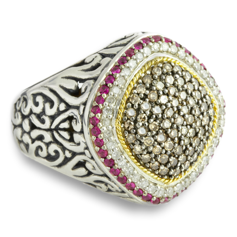 Black and White Diamond Sterling Silver Ring with Pink Sapphire and 18   Cirque Jewels