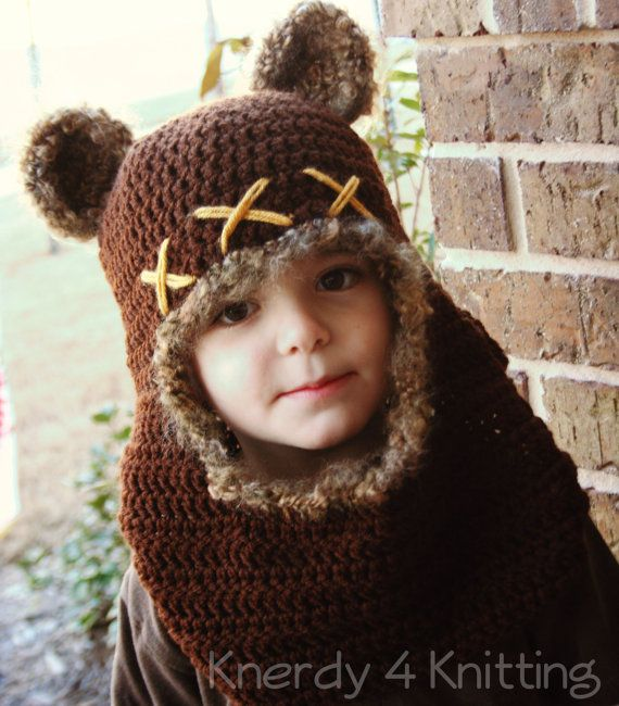 Crochet Bear Cowl Crochet Bear Hat Ewok by Knerdy4Knitting on Etsy ...