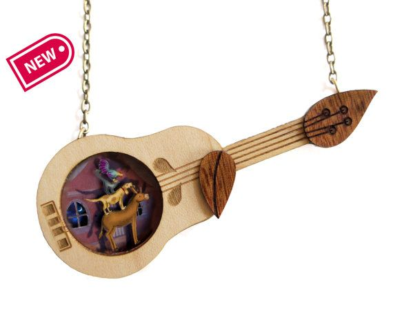 The Bremen Town Musicians Necklace. Natural wood and 3D inside.
