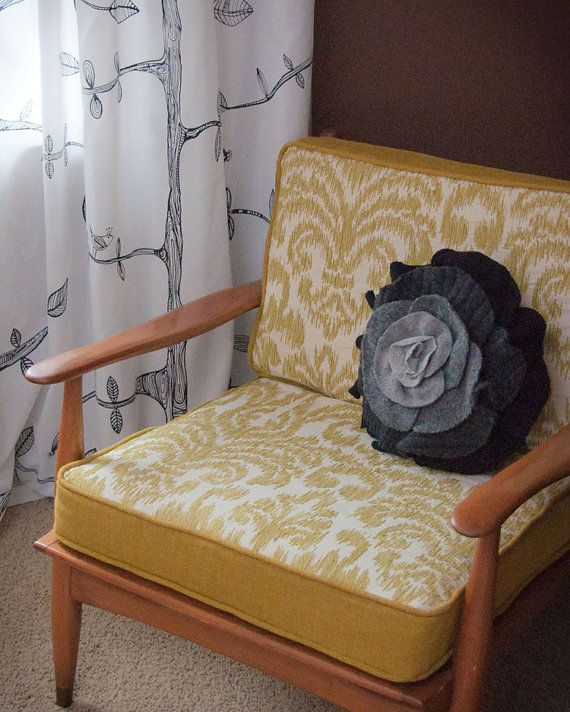 Charcoal Gray Ombre Ruffle Rose Pillow  Small by OldMadeNewOrg, $32.00