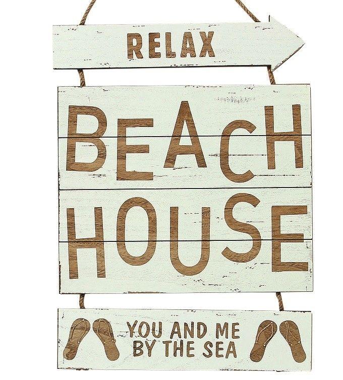 holz schild relax beach house creme wohnaccessoires. Black Bedroom Furniture Sets. Home Design Ideas
