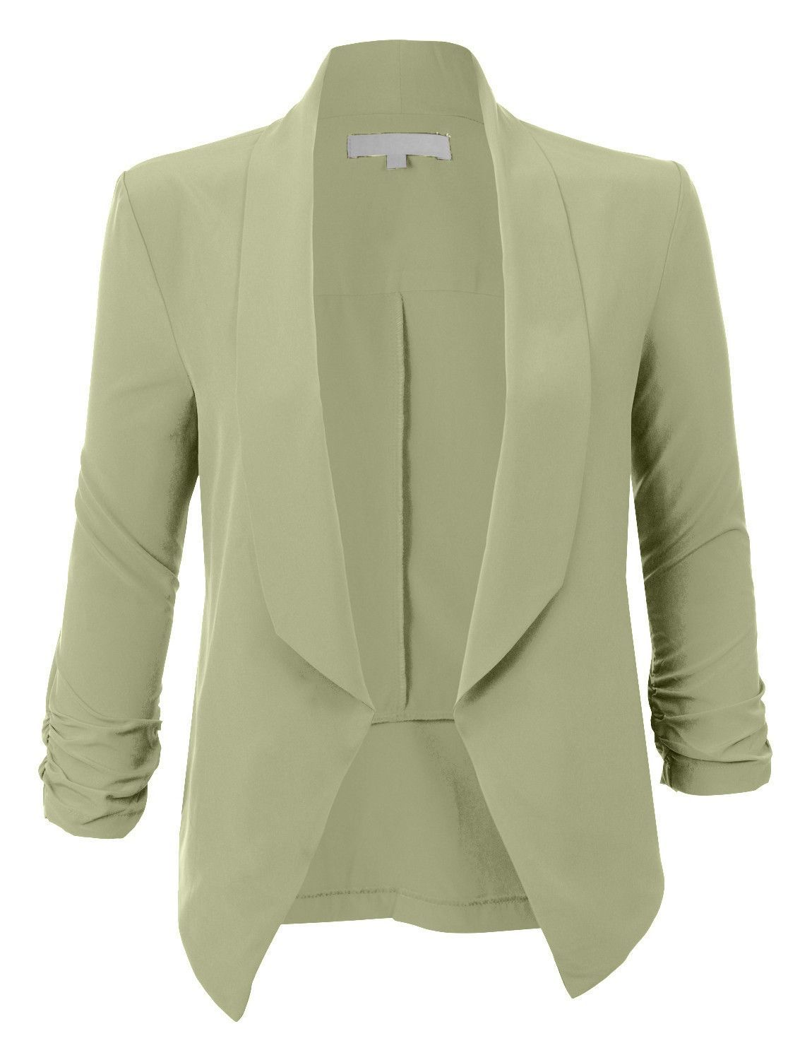 3501659c9fde LE3NO Womens Lightweight Ruched 3 4 Sleeve Open Front Blazer Jacket ( CLEARANCE)