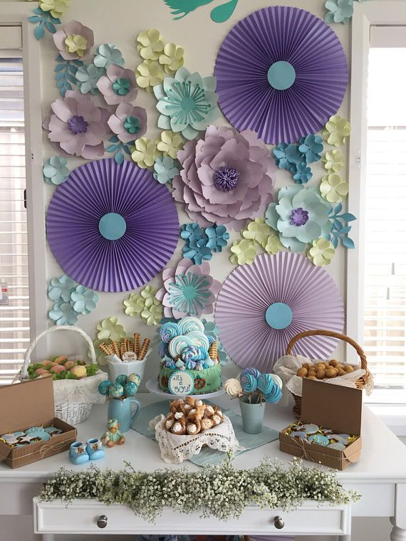Its A Boy Or Its A Girl Paper Flower Backdrop Set Of Flowers Fans