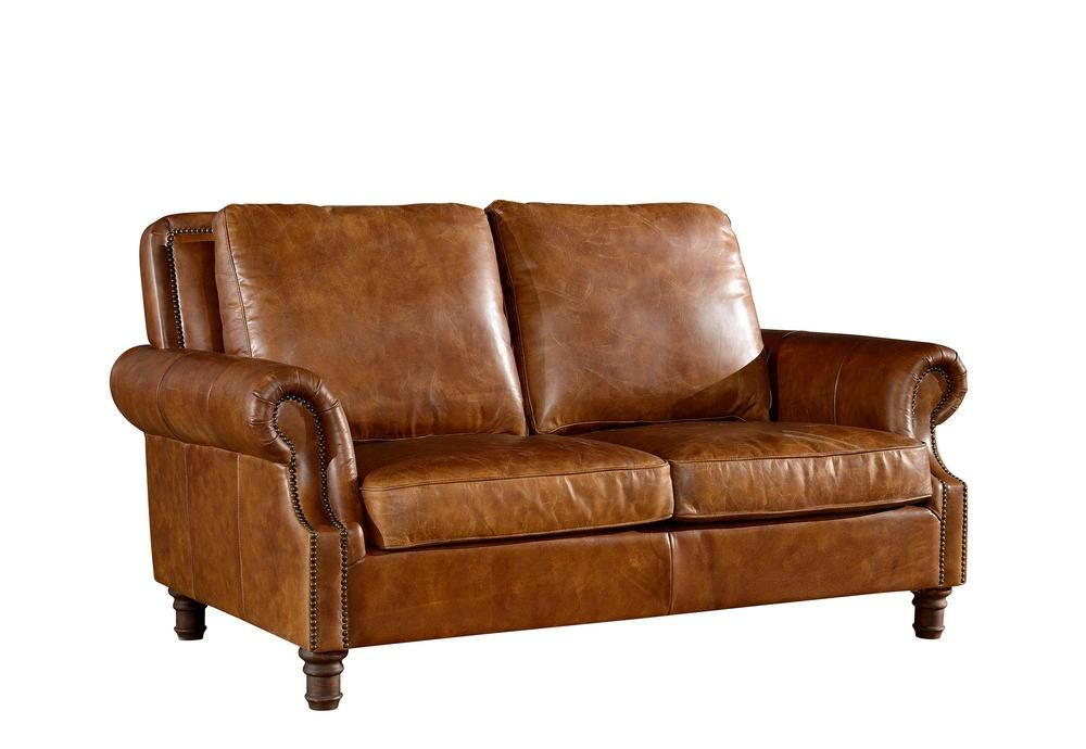 English rolled arm love seat light brown leather love