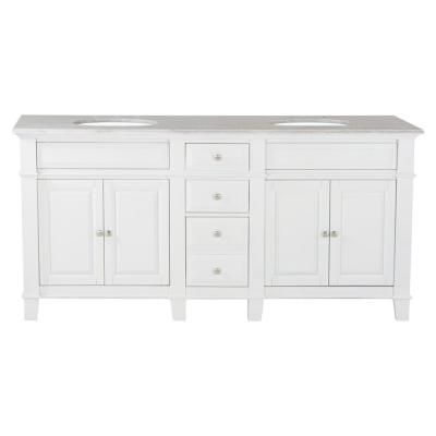 Westport Bay 72 In W X 23 In D Solid Hardwood Double Vanity In Swiss White With Solid Marble Top In Sierra White B7200 2018sw The Home Depot In 2020 Solid