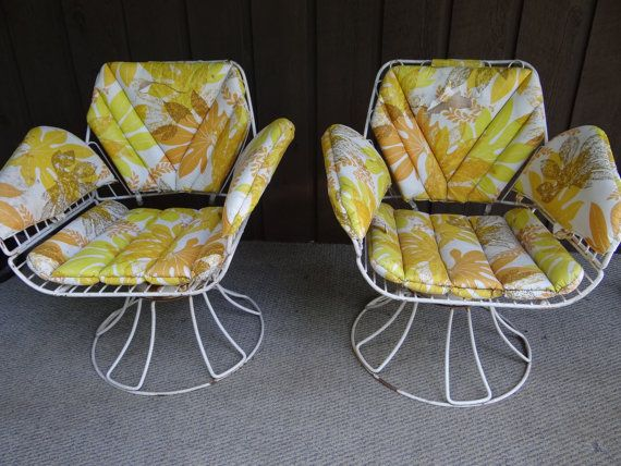 Homecrest metal swivel patio chairs Vintage wrought iron mid century chair se