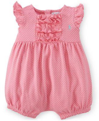 Ralph Lauren Baby Girls' Polka-Dot-Print Shortall