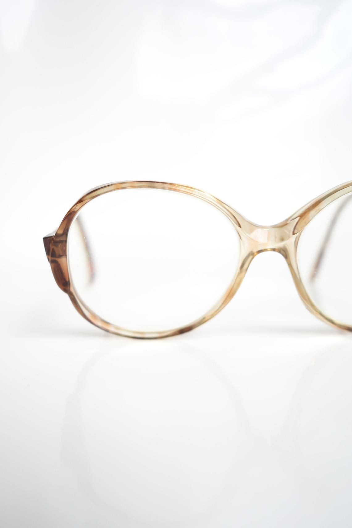 b490fc64a576 1980s Round Womens Vintage Glasses – Ladies Light Amber ...