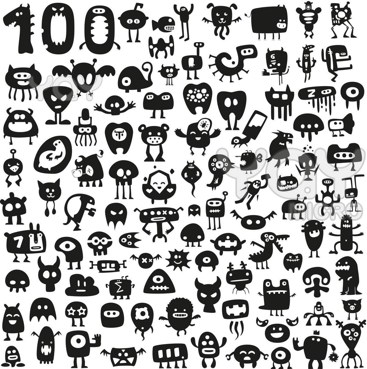 100 Funny Monsters Funny Monsters Monster Stickers Doodle Characters