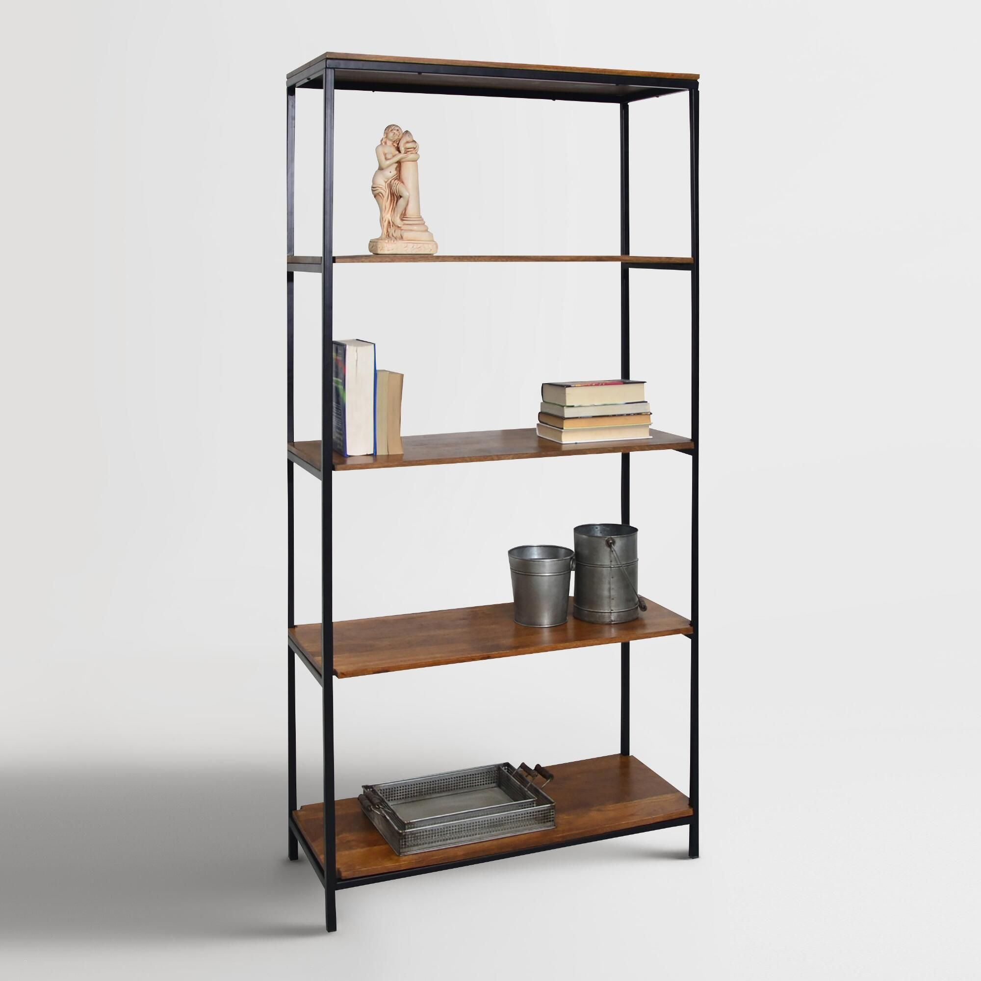 Our bookcase pairs a black metal frame with chestnut-finished wood ...