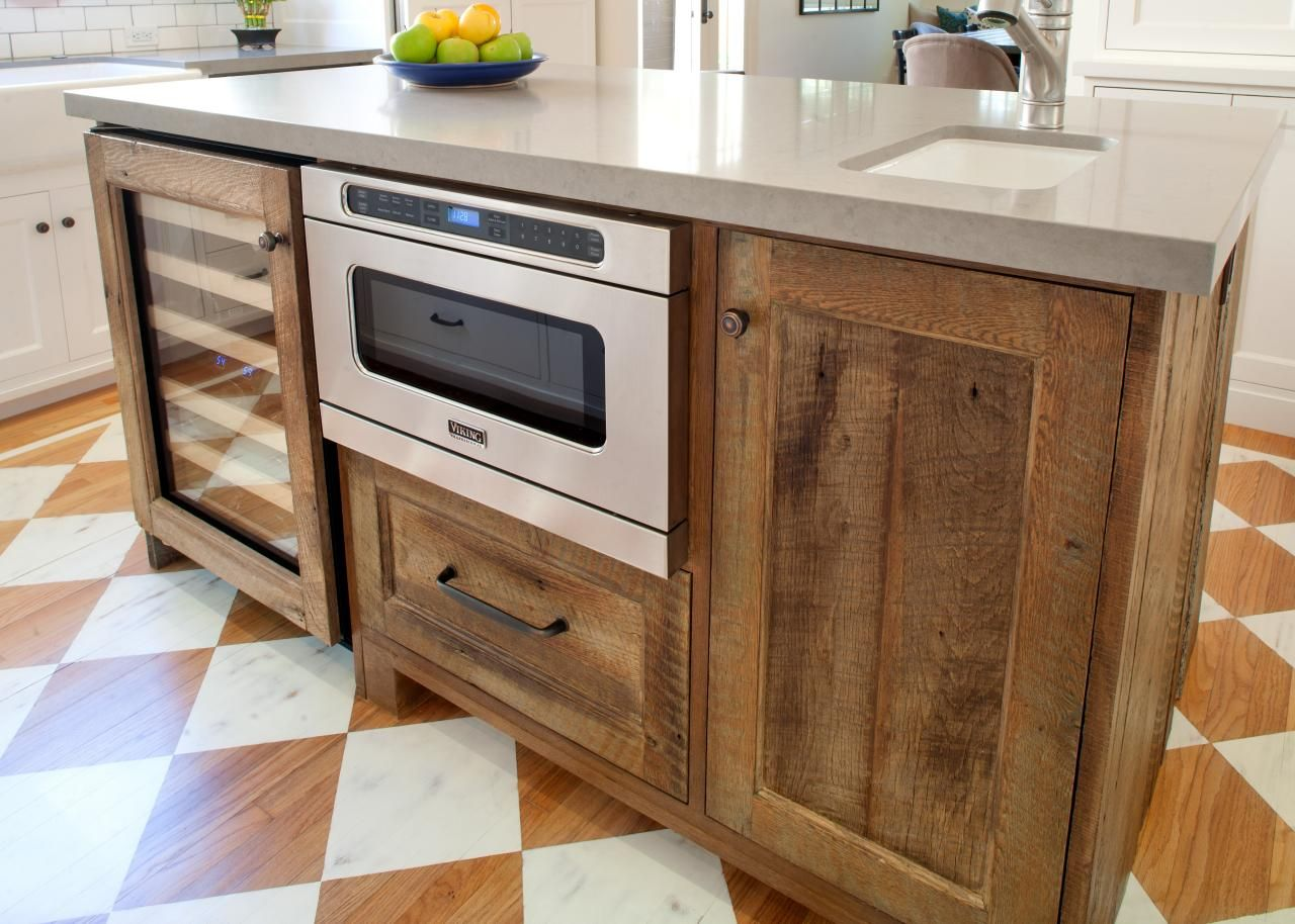 Natural Reclaimed Wood Kitchen Cabinets Island With Grey Countertop On  White Orange Tile Floor With Outstanding Kitchen : Nice Decorating  Reclaimed Wood ...