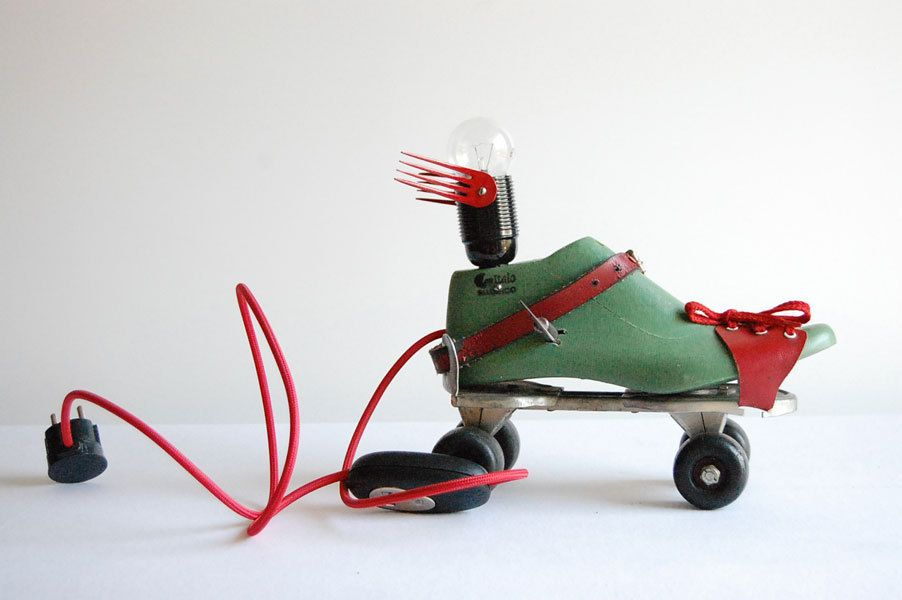 Clockwork Flying Roller Skate. Handcrafted ,vintage industrial desk / floor lamp. by FishTail45