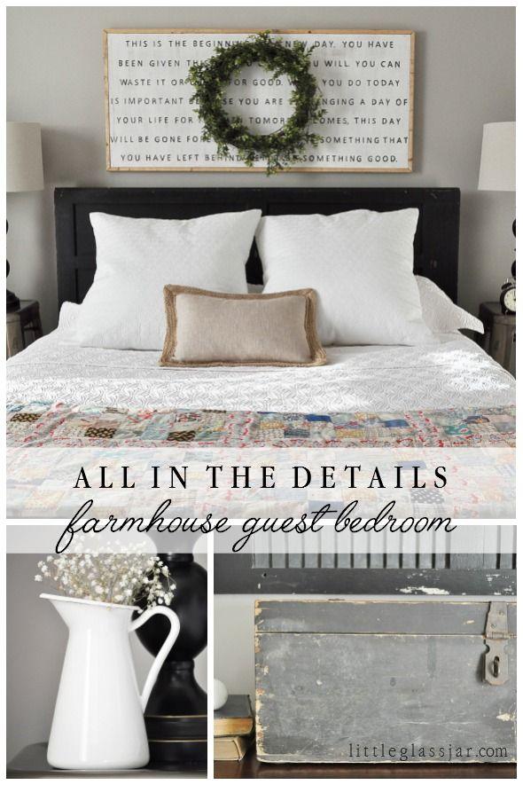 farmhouse guest bedroom | schlafzimmer, wohnzimmer und dekorieren, Schlafzimmer entwurf