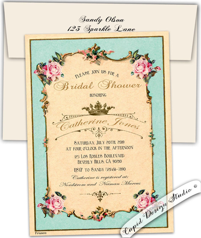 Bridal Tea party invitation. High tea bridal shower invite. Royal ...