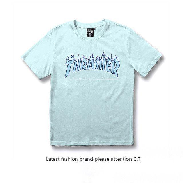 70f455aa2eb7 Thrasher T Shirt Men Wome Flame Blaze Thrasher T-shirts Magazine Hip Hop  Trasher Street Wear Thrasher T Shirt
