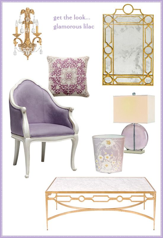 Bedroom palette - gold lilac and touches of chocolate ...