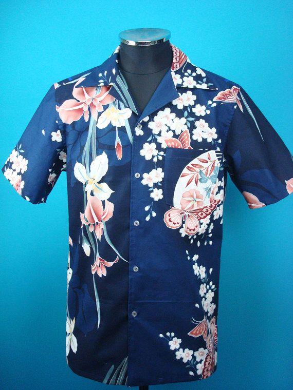 a7b24c0a Cotton Kimono Hawaiian shirt, yukata fabric, flowers, Japanese-style fan,  Men…