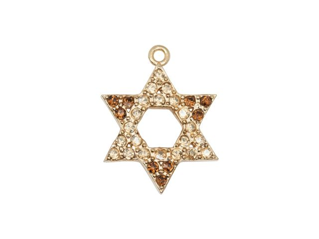 Gold-Finish Star of David Charm with Citrine and Topaz Swarovski Crystals