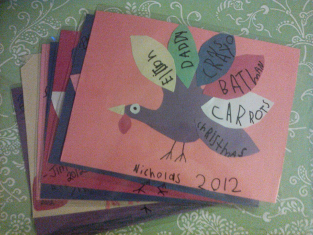 Diy Thanksgiving Placemats Kid Or Family Craft Each Of My Family Members Made Turkeys By Thanksgiving Placemats Thanksgiving Placemats Kids Placemats Kids