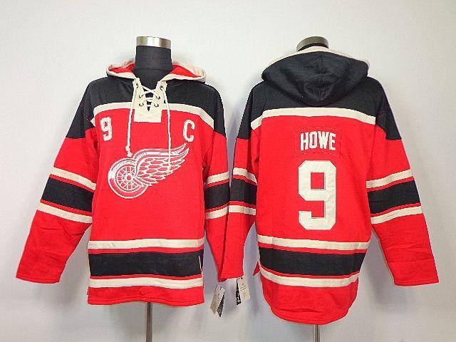 Detroit Red Wings 9 Gordie HOWE Lace-Up Jersey Hooded Sweatshirt ... ffb826d6c
