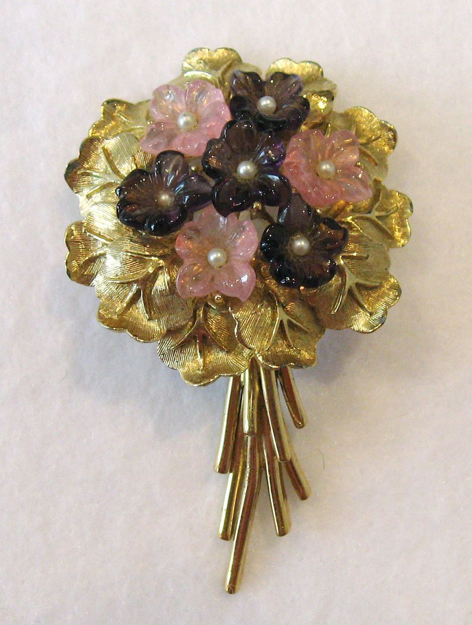 #986 Boucher Pink Purple Glass Flower Posy Pin Exclusively at Lee Caplan Vintage Collection on RubyLane