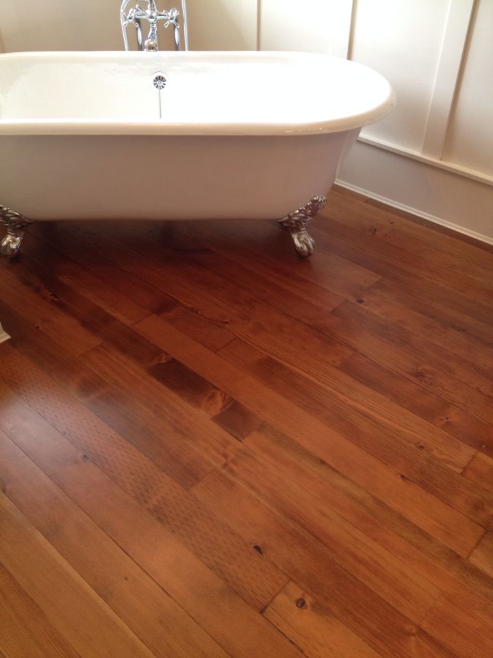 Fir Floors In A Bathroom Stained Antique Brown Hardwood