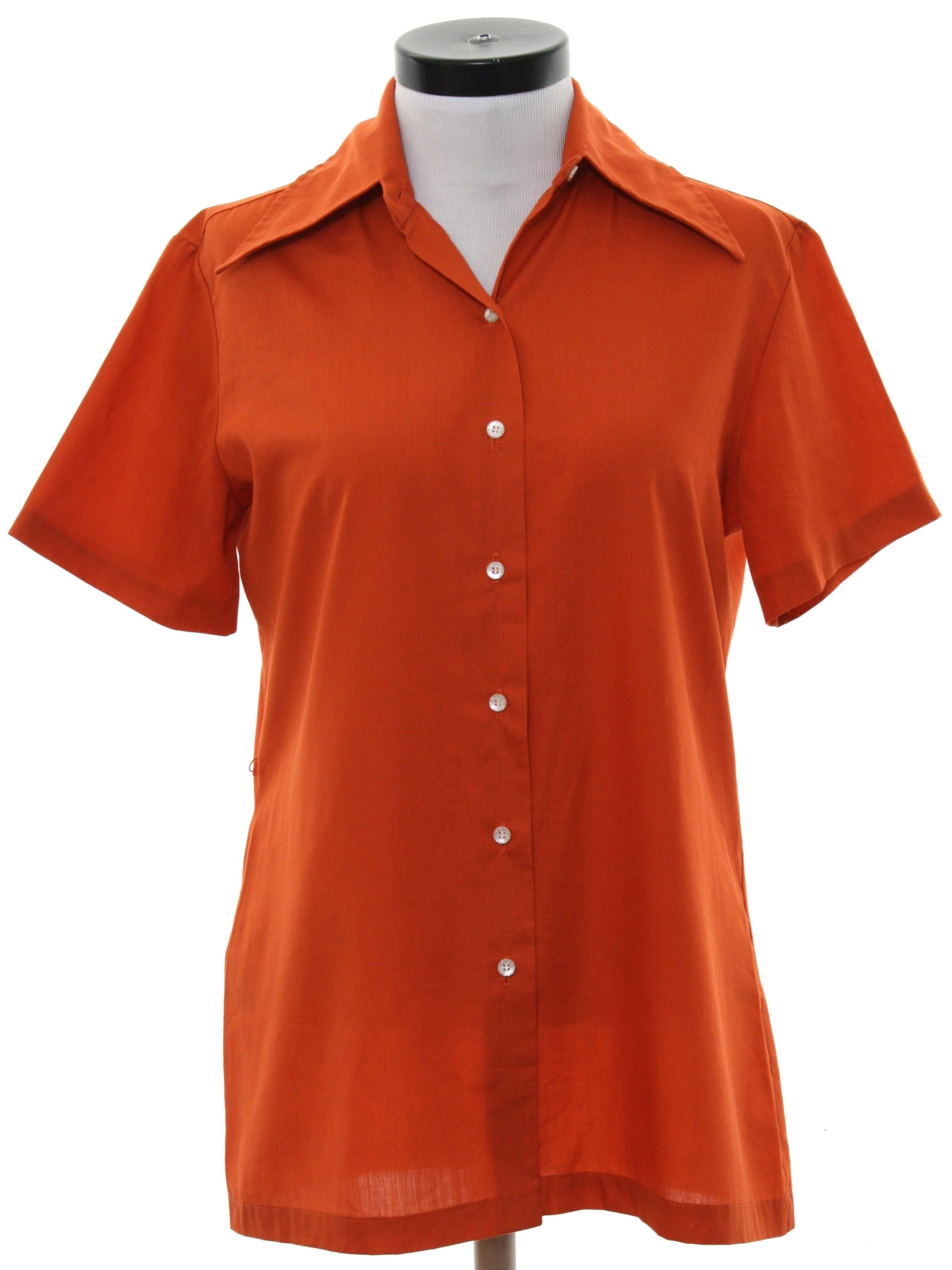 a264ec72 70's Sears Shirt: 70s -Sears- Womens dark rust polyester cotton blend short  sleeve button up front shirt. Tunic style with belt loops on the sides for  ...
