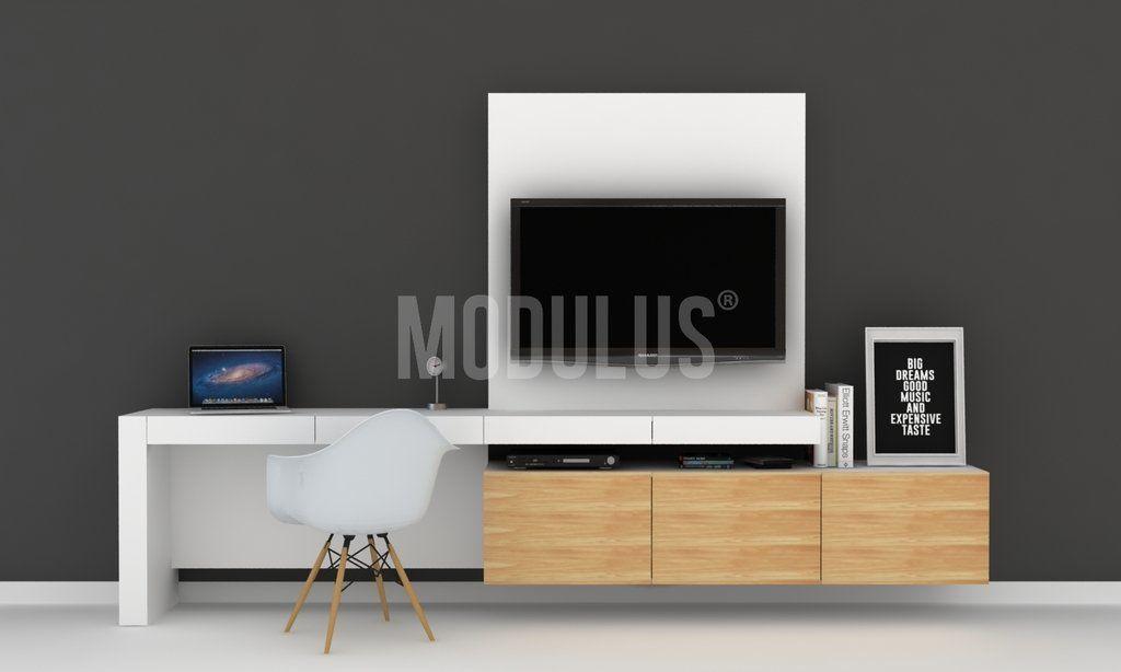 Escritorio moderno con mueble de tv muebles de tv - Mueble escritorio moderno ...