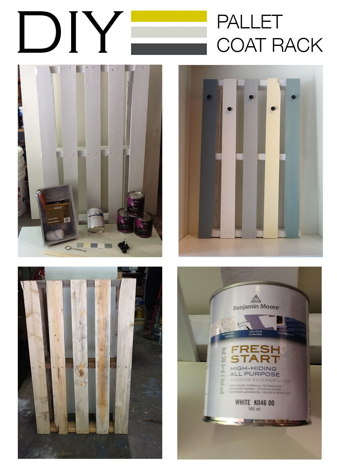 Diy home decor wood  Give the whole pallet a coat of Benjamin Moore Fresh Start Primer