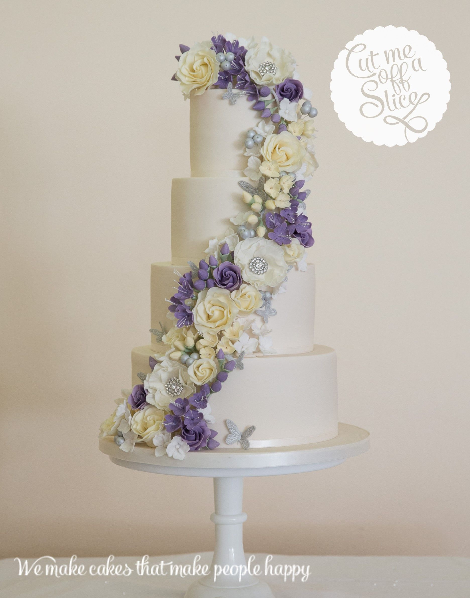 4 tier cake with ivory roses - Google Search | Wedding Cakes ...