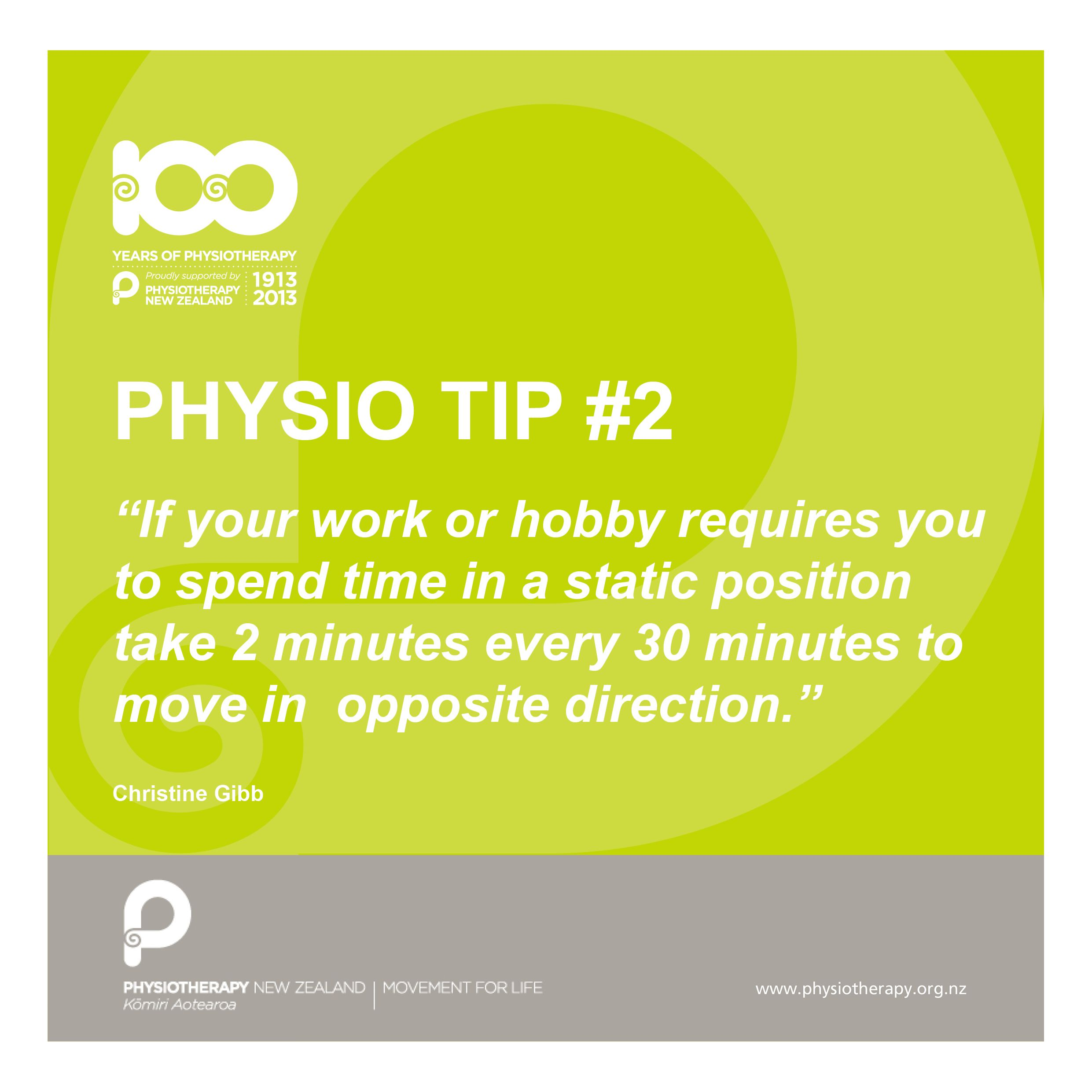 Take two minutes every day. Physiotips 100years Tips
