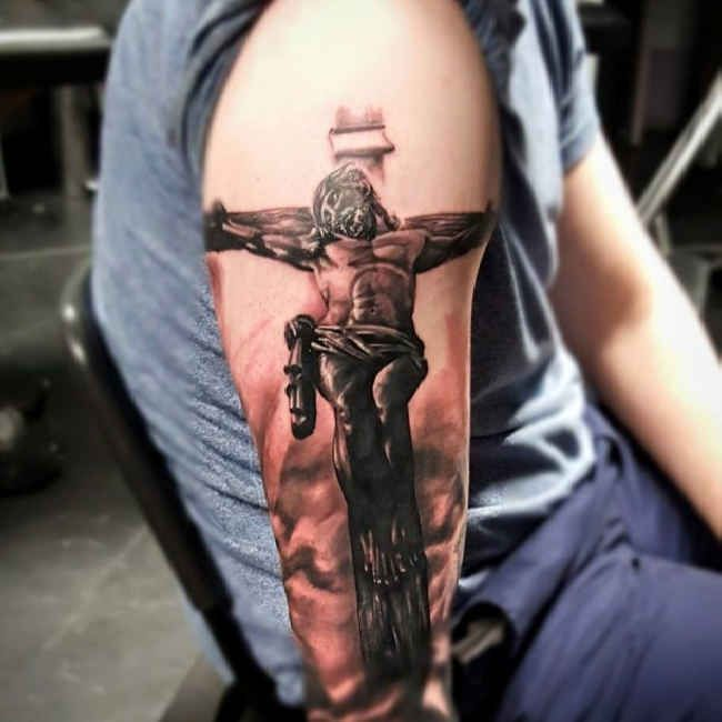upper arm jesus cross tattoo 3d    tattootodesign com  upper