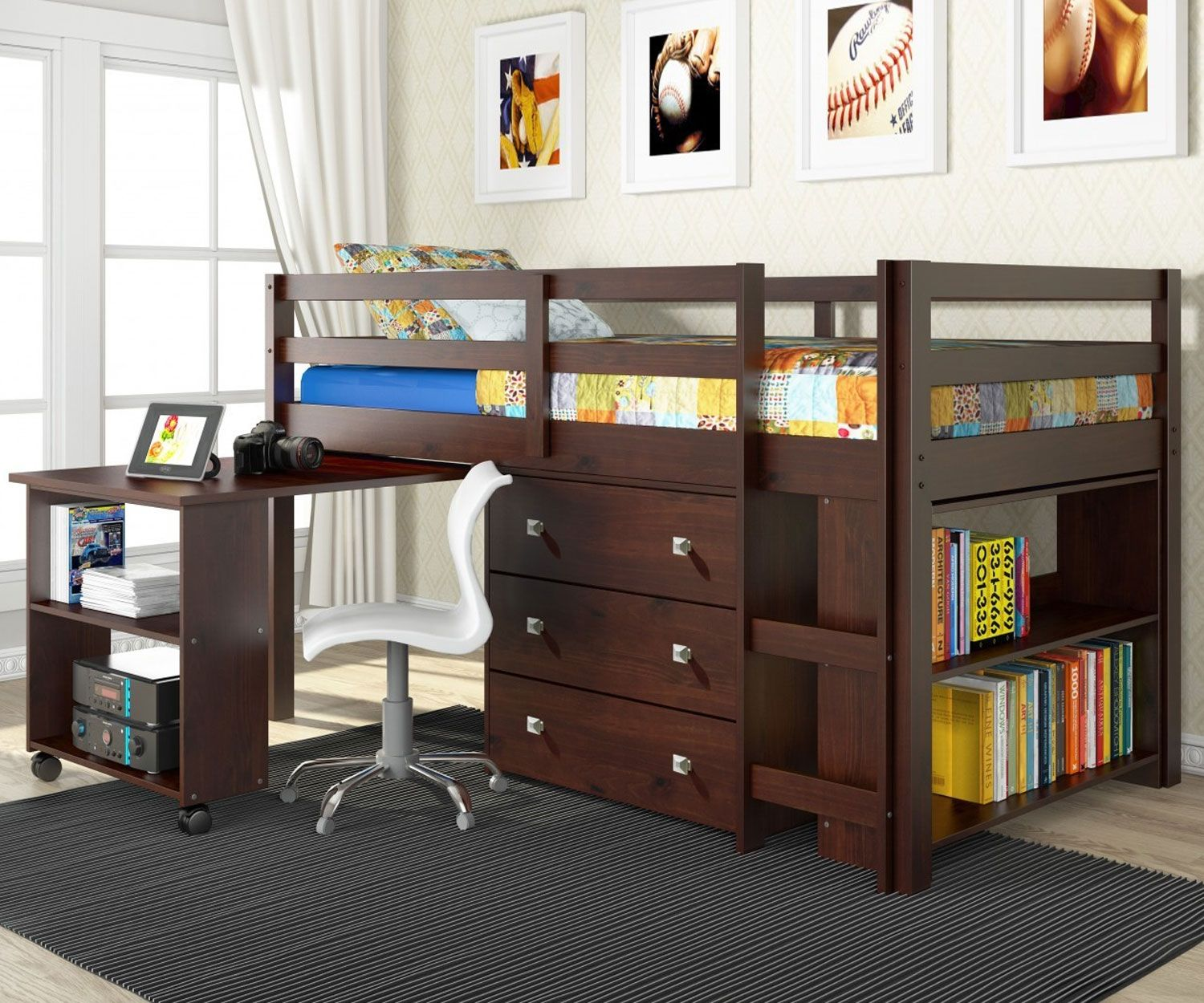 Donco Trading Kids Furniture Low Loft Bed Twin Size In Cappuccino  # Tuwi Muebles Infantiles