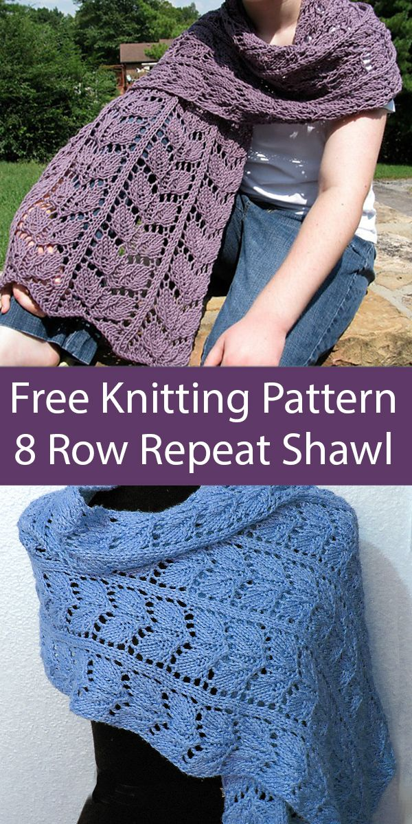 Free Knitting Pattern for 8 Row Repeat Crystal Lake Shawl