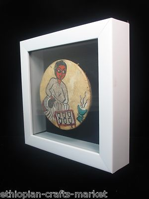 ethiopian painted rawhide drum in a shadow box ebay cool stuff to buy pinterest shadow box. Black Bedroom Furniture Sets. Home Design Ideas
