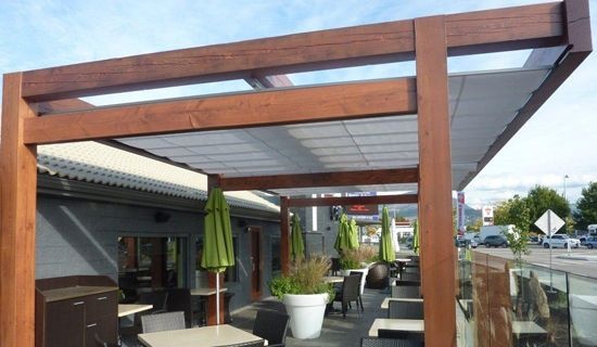 ****Cantilevered Retractable Canopy/Simple Design Of Pergola With Overhang  (beyond