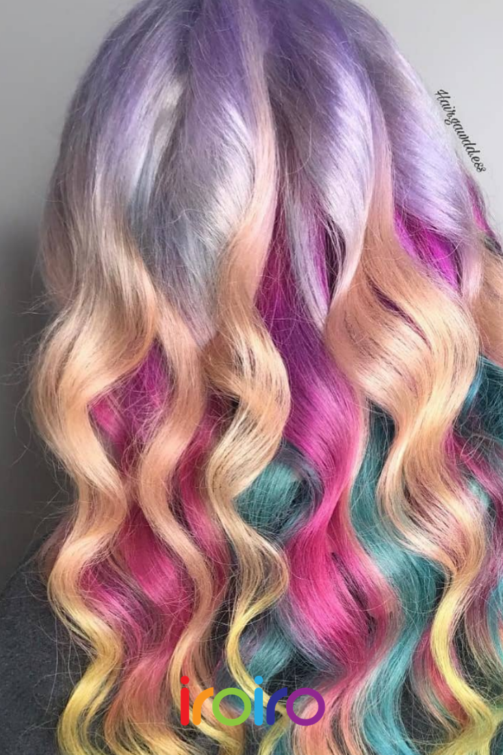 Pastel Hair Color Look Ombre Unicorn Hair Inspo Hair Color Ideas For A Pastel Rainbow Hair Color Look Vegan Hair Color Pastel Pastel Hair Temporary Hair Dye