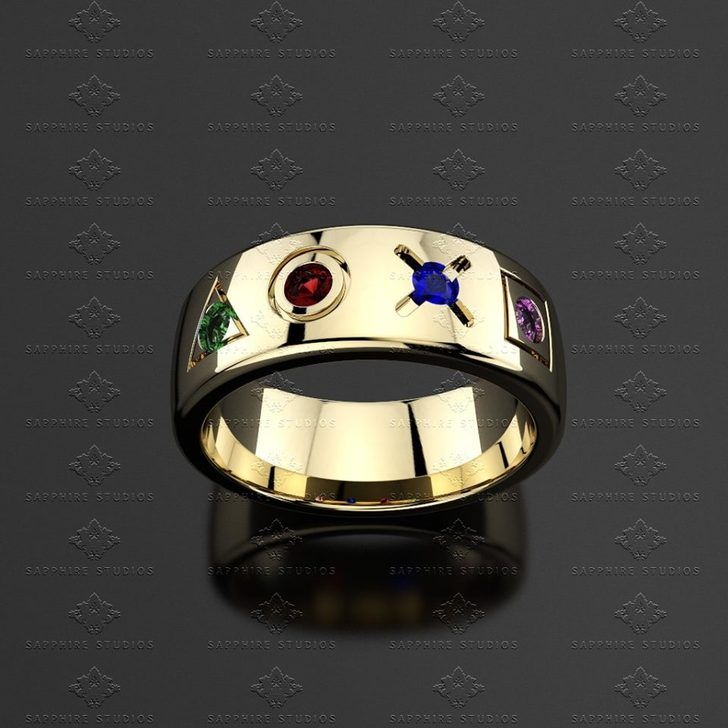 Geometric 025ct Gold Inspired Playstation Mens Band My Nerdy