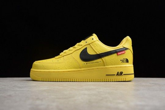 Custom Supreme X The North Face X Nike Air Force 1 Yellow Nike Nike Air Force Nike Air Force Sneaker