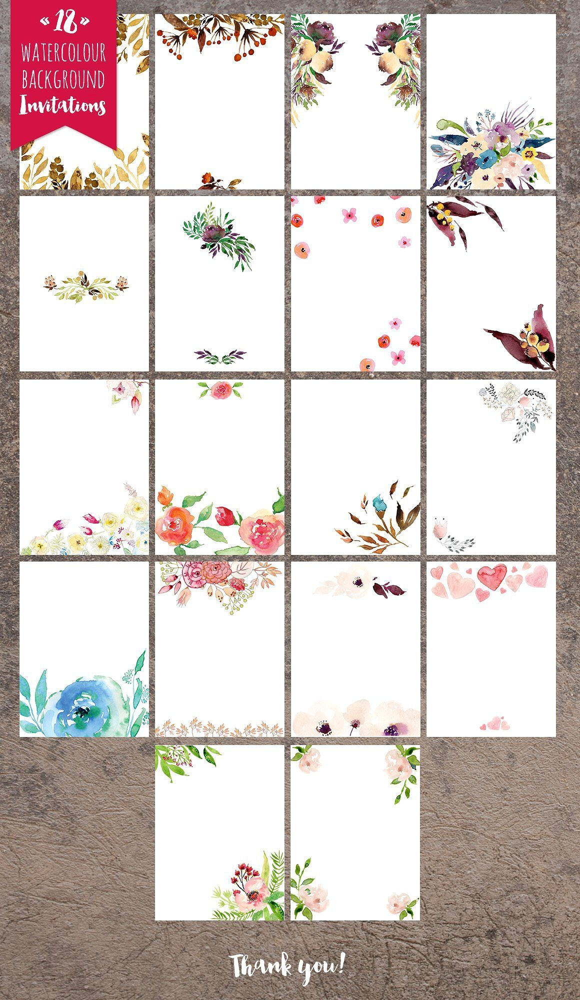 18 Invitation backgrounds by Webvilla on @creativemarket ...