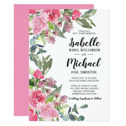 Pink Floral Watercolor Wedding Invitations Weddings and Invitation