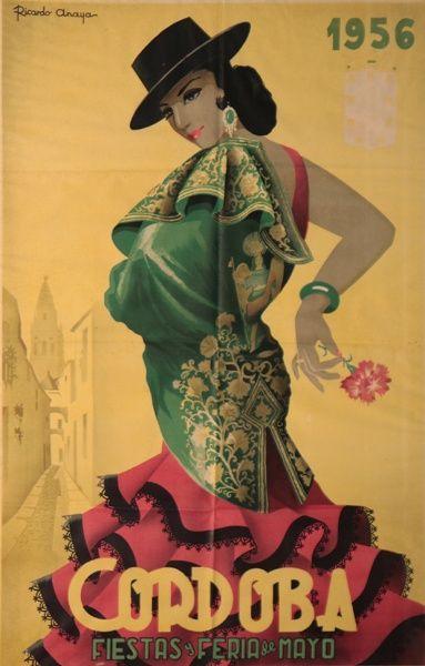 Vintage poster for Easter festivals in Cordoba, Spain 1956 ...