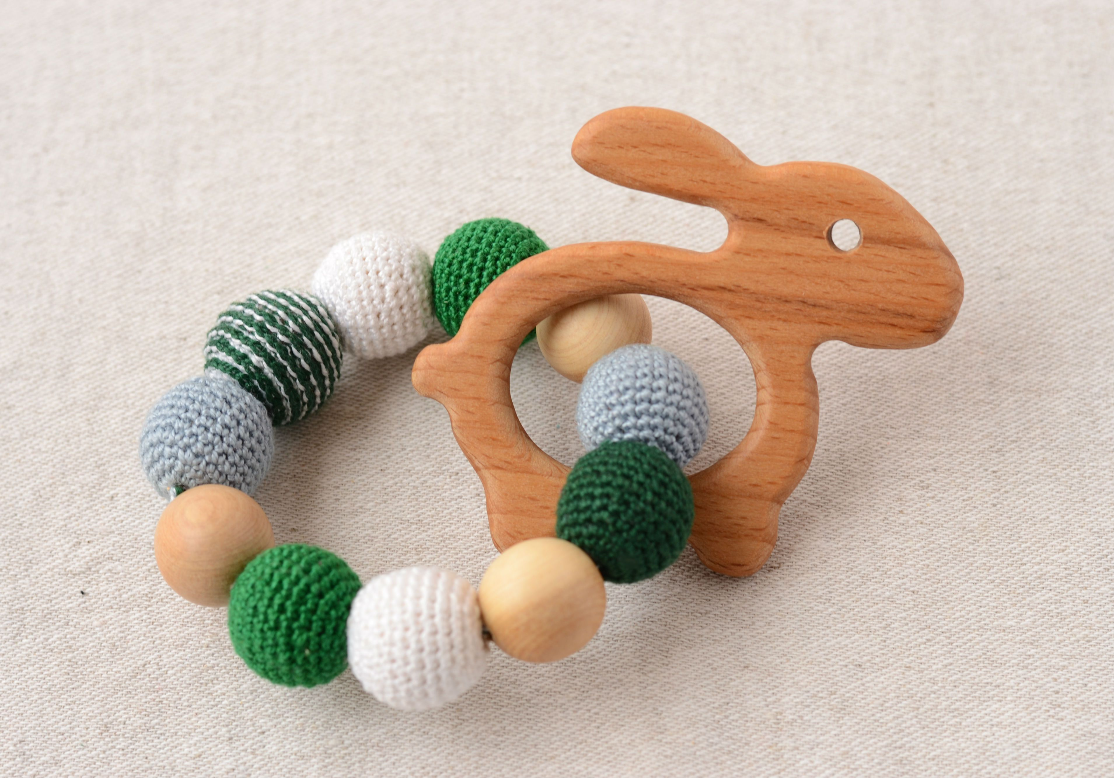 Hare teether - organic baby toys - wooden toys