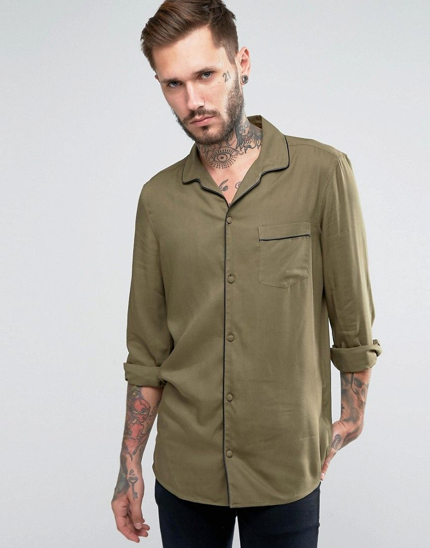8a332affcb2 ASOS Viscose Shirt In Khaki With Revere Collar And Piping In Regular ...