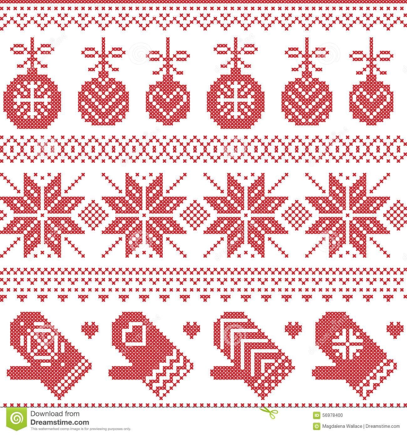 Scandinavian Nordic Seamless Christmas Pattern With Xmas Baubles Gloves Stars Snowflakes Scandinavian Cross Stitch Red Cross Stitch Christmas Cross Stitch