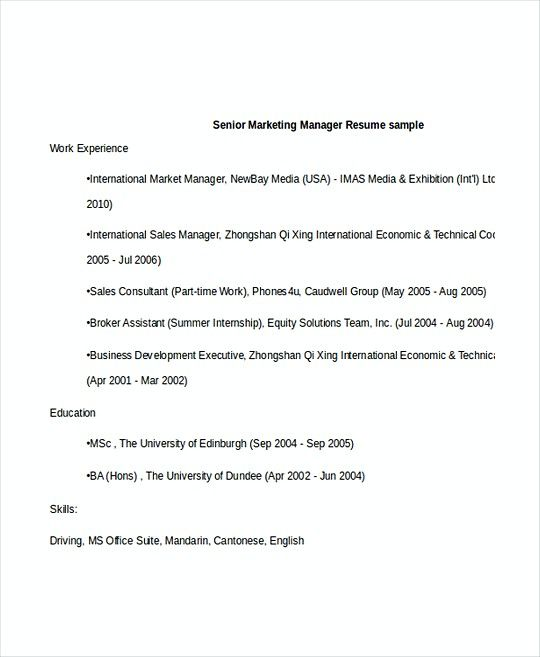 Senior Marketing Manager resume template , Professional Manager - marketing director resume