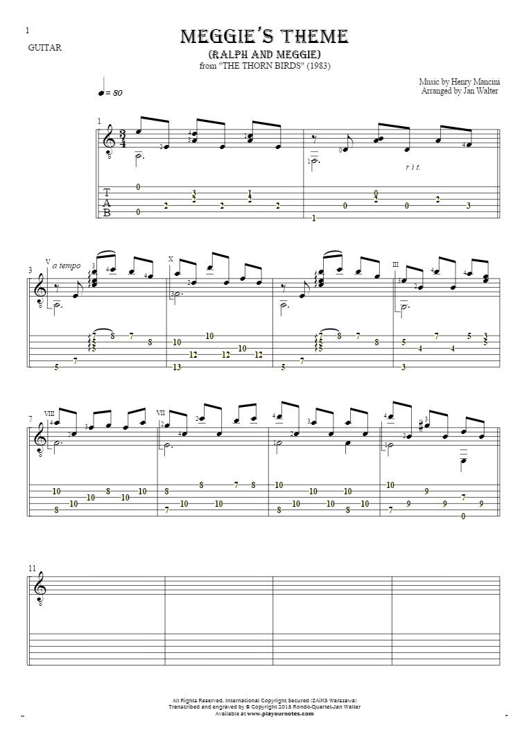 Meggies theme ralph and meggie notes and tablature for guitar films hexwebz Images